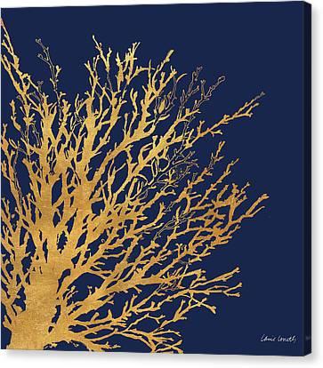 Gold Medley On Navy Canvas Print by Lanie Loreth