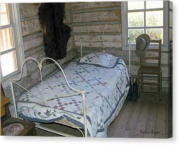 Bed Spread Canvas Print - Gold Miners Cabin by Barbara Snyder