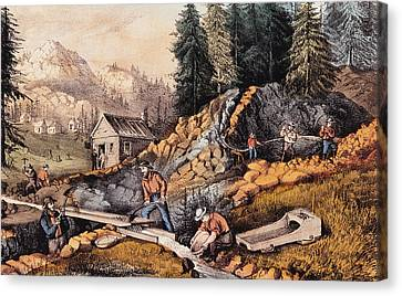 Gold Mining In California Canvas Print by Currier and Ives