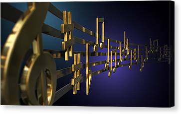 Gold Music Notes On Wavy Lines Canvas Print by Allan Swart
