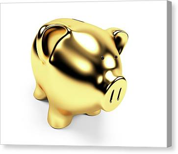 Piggy Bank Canvas Print - Gold Piggy Bank by Sebastian Kaulitzki
