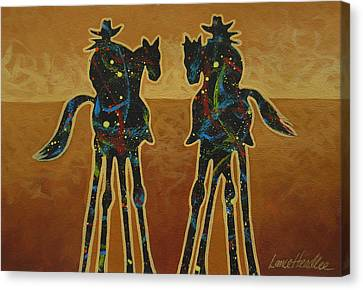 Houston Cowgirl Canvas Print - Gold Riders by Lance Headlee