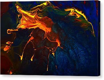 Gold Signature - Gold Orange Abstract Art By Kredart Canvas Print by Serg Wiaderny