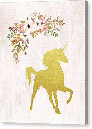 Unicorns Canvas Print - Gold Unicorn Floral by Tara Moss