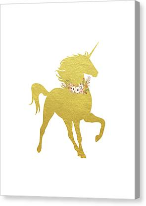 Unicorns Canvas Print - Gold Unicorn by Tara Moss