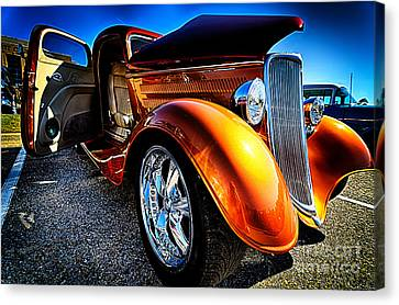Gold Vintage Car At Car Show Canvas Print by Danny Hooks