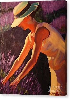 Canvas Print featuring the painting Golden Afternoons In Lavender by Janet McDonald