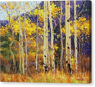 Golden Aspen W. Mystical Purple Canvas Print by Gary Kim