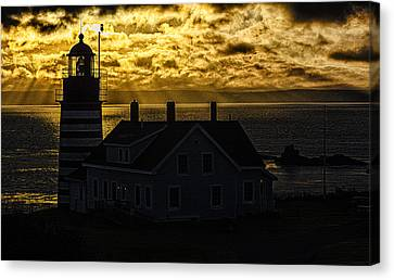 Golden Backlit West Quoddy Head Lighthouse Canvas Print by Marty Saccone