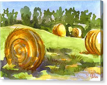 Golden Bales In The Morning Canvas Print by Kip DeVore