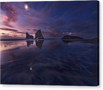 Golden Bay When Night Falls Canvas Print by Yan Zhang