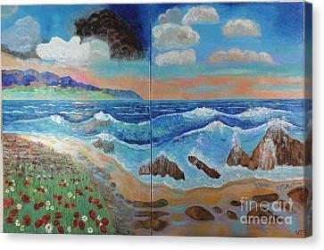 Golden Beach Canvas Print by Vicky Tarcau