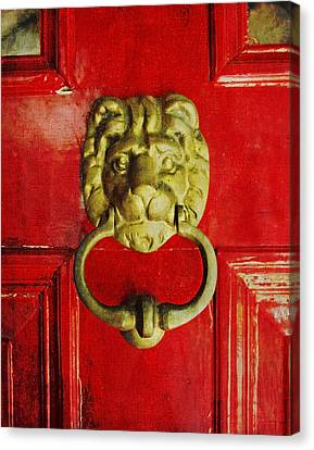 Golden Brass Lion On Red Door Canvas Print by Brooke T Ryan