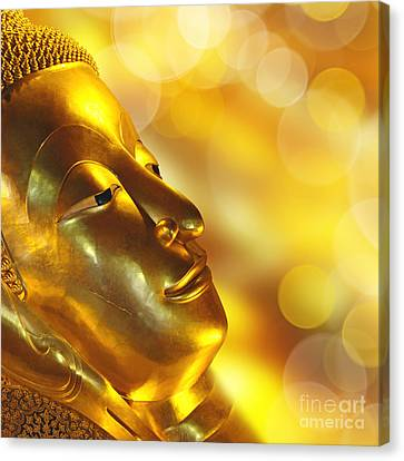 Golden Buddha Canvas Print by Delphimages Photo Creations