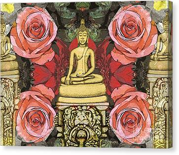 Canvas Print featuring the painting Golden Buddha In The Garden by Joseph J Stevens