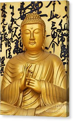 Golden Buddha Statue At The World Peace Pagoda Pokhara Canvas Print by Robert Preston