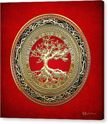 Golden Celtic Tree Of Life  Canvas Print by Serge Averbukh