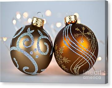 Golden Christmas Ornaments Canvas Print by Elena Elisseeva