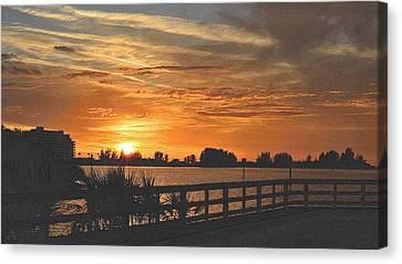 Tropical Sunset Canvas Print - Golden Christmas Sunset 2 by Richard Zentner