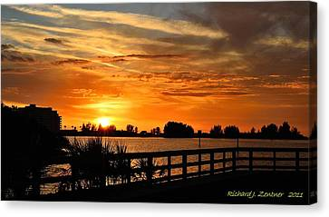 Canvas Print featuring the photograph Golden Christmas Sunset by Richard Zentner