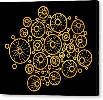 Golden Circles Black Canvas Print