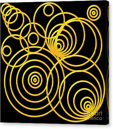 Golden Circles Optical Illusion Canvas Print by Rose Santuci-Sofranko