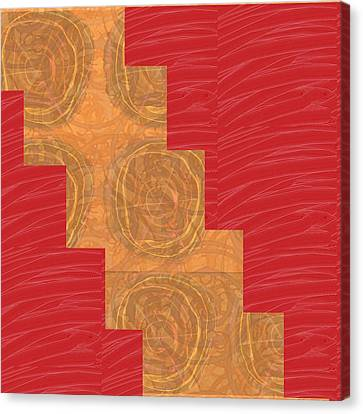 Canvas Print featuring the photograph Golden Circles Red Sparkle  by Navin Joshi