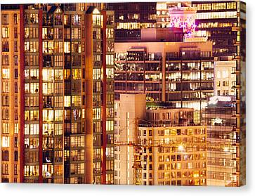 Canvas Print featuring the photograph City Of Vancouver - Golden City Of Lights Cdlxxxvii by Amyn Nasser