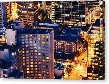 Golden Cityscape Vancouver Mcccl Canvas Print