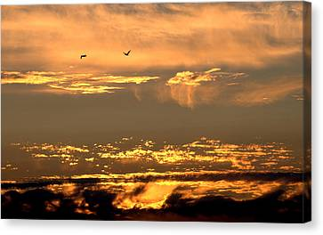 Canvas Print featuring the photograph Golden Clouds by AJ  Schibig