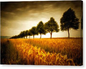 Golden Cornfield With Row Of Trees Painting Canvas Print by Matthias Hauser