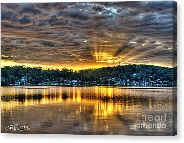 Golden Crepuscular Sunrise Water Reflections.     Canvas Print by Geoff Childs