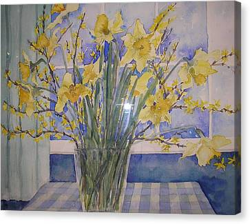 Golden Daffodils Canvas Print by Wendy Head