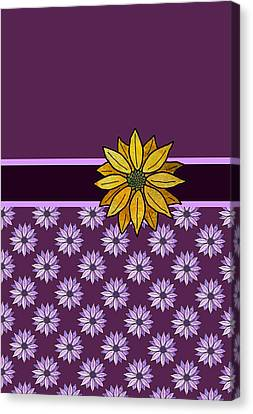 Golden Daisy On Plum Canvas Print by Jenny Armitage