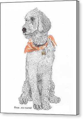 Doggy Cards Canvas Print - Trash Talking Golden Doodle by Jack Pumphrey