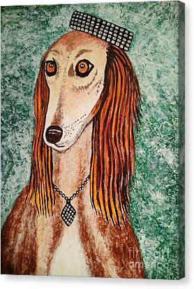 Canvas Print featuring the painting Golden Dog by Jasna Gopic