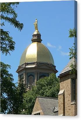 Indiana Canvas Print - Golden Dome Notre Dame by Connie Dye