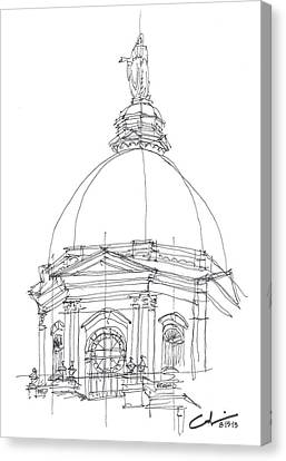 Canvas Print featuring the drawing Golden Dome Sketch by Calvin Durham