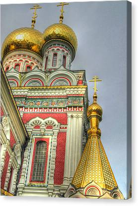 Golden Domes Of Russian Church Canvas Print by Eti Reid