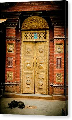 Tibetan Buddhism Canvas Print - Golden Door In Kathamndu by Raimond Klavins