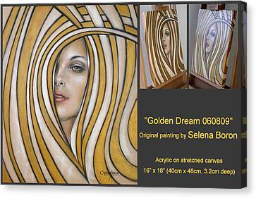 Canvas Print featuring the painting Golden Dream 060809 Comp by Selena Boron