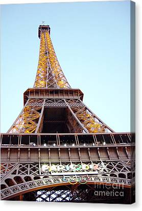 Canvas Print featuring the photograph Golden Eiffel by Deborah Smolinske