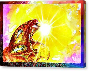 Canvas Print featuring the mixed media Golden Frog by Hartmut Jager