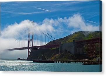 Golden Gate And Fog Canvas Print by Rima Biswas