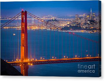 Golden Gate And San Francisco Canvas Print by Inge Johnsson