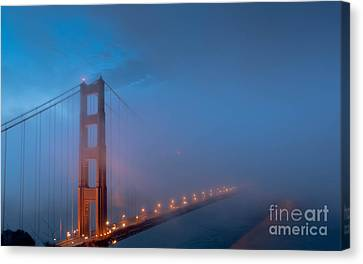 Sausalito Canvas Print - Golden Gate At Blue Hour by Along The Trail