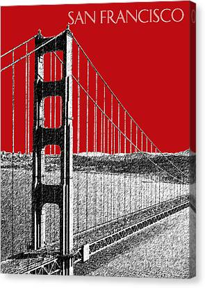 Golden Gate Bridge - Dk Red Canvas Print by DB Artist