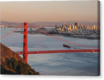 Canvas Print featuring the photograph Golden Gate Bridge And San Francisco 1 by Lee Kirchhevel