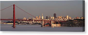 Canvas Print featuring the photograph Golden Gate Bridge And San Francisco Panoramic by Lee Kirchhevel
