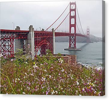 Golden Gate Bridge And Summer Flowers Canvas Print